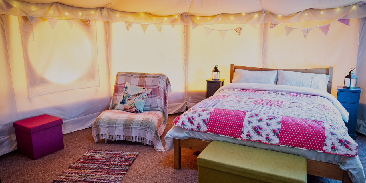 Comfy bed in the yurt
