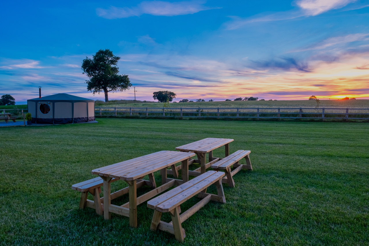 benches in sunset