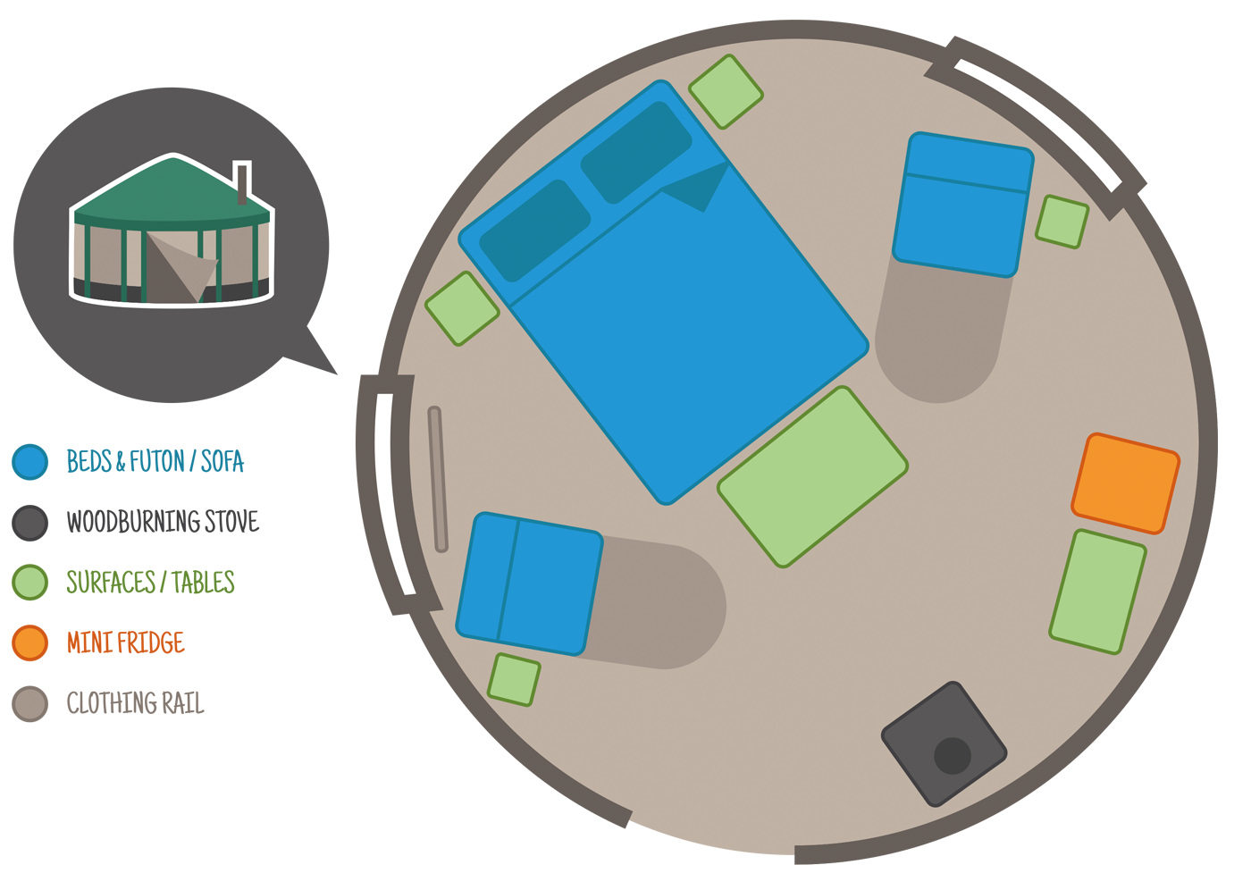 floor plan of yurt