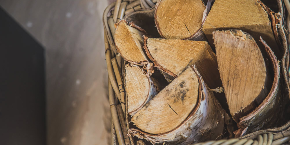 Logs for the stove are provided to keep you toasty